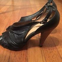 Aldo Black Leather Strappy High Heel Shoes Sandals Size 9 / 40 Used Photo