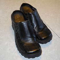 Aldo Black Leather Wedge Clogs