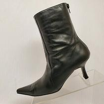 Aldo Black Leather Zip Ankle Fashion Boots Bootie Size 38 Eur Photo