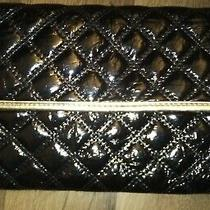 Aldo Black Quilted Vegan Leather Flapover Clutch Handbag Gold Trim Purse Large Photo