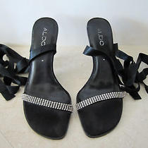 Aldo Black Satin Wrap Around Strap Shoes Size 8 Photo