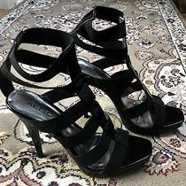 Aldo Black Strappy Patent Stileto Sandals Size 38 / 8 Photo