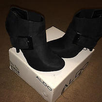 Aldo Black Suede Booties Photo