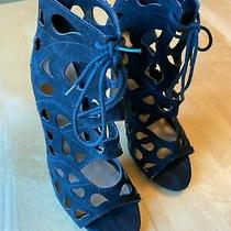 Aldo Black Suede Leather Dressy Booties Ankle Open Toe Cutout High Heel Sz 8.5 Photo