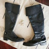Aldo Black Tall Leather Ankle Strap Cuff Boots Women's Size 37 Photo