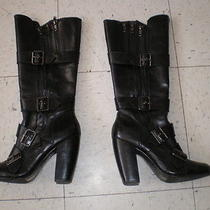 Aldo Black Tall Leather Boots W/ Buckle & Zipper Detail Size 39 / Size 8 Photo