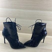 Aldo Black Textured Leather Pointy Toe Lace Up/zip Heeled Booties Women's Size 7 Photo