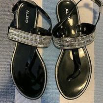 Aldo Black Thong Sandal With Decorative Strap Womens Size 9 Photo