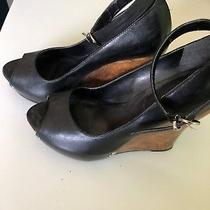 Aldo Black Wedge Fashion Platform Stud Ankle Club Dress Dance Heels Size 6 Photo