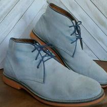 Aldo Blue-Gray Suede Navy Trim & Orange Sole Chukka Ankle Boot Men's Size 13   Photo