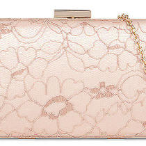 Aldo Blush Lace Clutch With Gold Trim Closure and Gold Shoulder Strap Photo