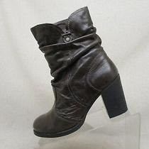 Aldo Brown Leather Slouch High Ankle Fashion Boots Bootie Size 38 Eur  Photo