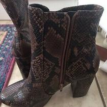 Aldo Brown Snake Print Leather Side Zip Block Heel Ankle Boots Women's Size 10 Photo