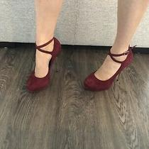 Aldo Burgundy Red Velvet Heels Size 7 Photo