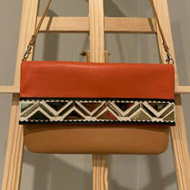 Aldo Clutch Purse Handbag Orange Brown Gold Geometric Color Block Faux Leather Photo