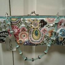 Aldo Clutch Purse Light Blue With Colorful Beading Crystals Embroidery Nwt Photo