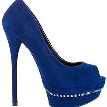 Aldo Craeng 7.5 Blue Peep Toe Heels Zip Photo