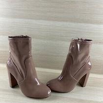 Aldo Dark Beige Patent Leather Side Zip Block Heel Ankle Boots Women's Size 8.5 Photo