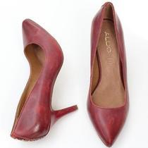 Aldo Dark Burgundy/gold Leather Classic Dress Heels Pumps Shoes Photo