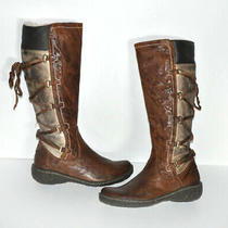 Aldo Distressed Faux Leather Laced 3-Tone Brown Knee Boots sz.36 (Us 6) Photo