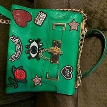 Aldo Euroline Satchel Bag Green With Graphic Patches New W/o Shoulder Strap  Photo