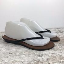 Aldo Flat Slip on Thong Sandals Black Bead Embellishment Women Sz 40/9 Photo
