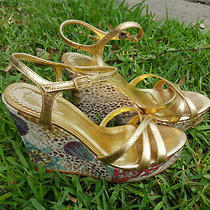 Aldo Gold Straps Wedges Size 38 Made in Brazil Photo