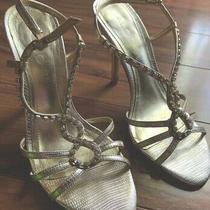 Aldo Heels Woman Shoes Gold Color Size 37 Straps Photo
