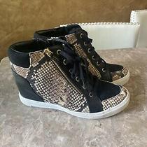 Aldo High Top Hidden Wedge Fashion Sneaker Snake Skin Size 8.5 Photo