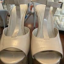 Aldo Juster Cream Patent Leather Peep Toe T-Strap Pumps Photo