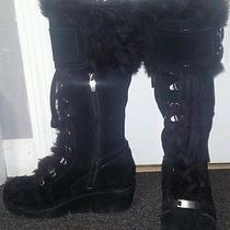 Aldo Knee High Black Wedge Fur Suede Boots Buckle and Zip Size 5.5 or 36 Photo