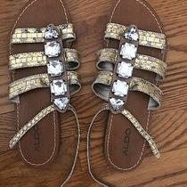 Aldo Leather Women's Gold Distressed Sandals Size 39 Photo