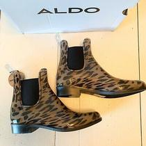 Aldo Leopard Print Short Rubber Waterproof Rain Boots Brown Black 6b Photo