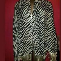 Aldo Long Zebra Black White Animal Print Scarf Accessory Shawl Fringe Wrapfabric Photo