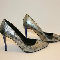 Aldo Looma  Women Pointed Toe Silver/black Metalic Leather Heelspumps sz8.5 Photo