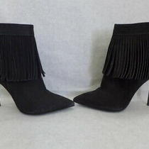 Aldo (Made Brazil) Black Suede Leather Stiletto Heel Cirede Fringe Booties 7.5 Photo