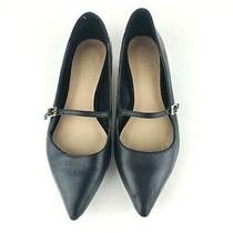 Aldo Mary Jane Pointed Toe Black Leather Ballet Flats Gold Trim Heel Buckle Sz 7 Photo