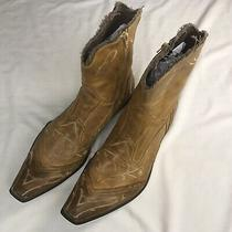 Aldo Men 46 Us 12 Brown Distressed Leather Square Toe Ankle Side Zip Boots 150 Photo