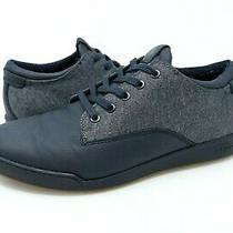 Aldo Mens 8 Blue Leather Fashion Sneakers Gray Textile Shoe Lace Up Casual  Photo