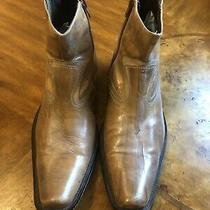 Aldo Mens Side Zip Ankle Boots Shoe Distressed Brown Leather Size 42 (9) Photo