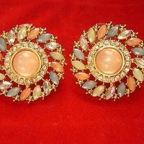 Aldo Multi Color Flower Stud Earrings Crystal Rhinestone New Photo