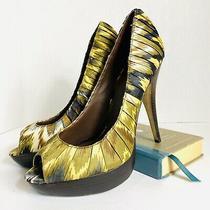 Aldo Multi Color Open Toe Print Fabric Heels Size 38 Photo