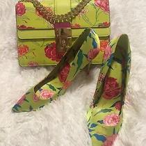 Aldo Neon Green Yellow Pink Floral Stiletto Pumps Heels Sz 11 / Matching Purse Photo