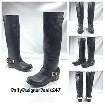 Aldo New Sexy Black Knee High Gold Accent Riding Motorcycle Biker Boots Sz 7.5 Photo