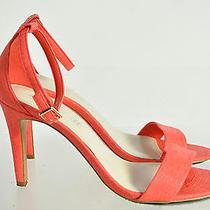 Aldo Orange Embossed Pattern Open Toe Cuff Ankle Strap Size 8.5 Photo