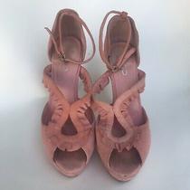 Aldo Peach Suede Ankle Strap Open Toe Sandal Heels Womens Size 38/8 Photo