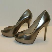 Aldo Peeptoe Heels Platform Leather Shoes Silver Metallic 5