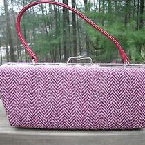 Aldo Pink Tweed Fabric Box Handheld Evening Hinged Kisslock Handbag Nice Euc Photo