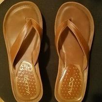 Aldo Platform High Heel 3 Inch Flip Flop Cognac Brown Size 8 Faux Leather Photo