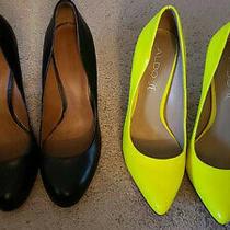 Aldo Pumps Black Leather/neon Yellow Patent Leather (2 Pairs) Size 39 Pristine Photo